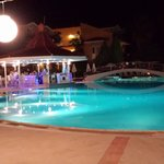The pool bar at night.