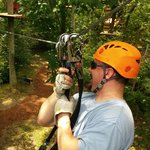 Preparing to zipline at Sandy River Adventure Park