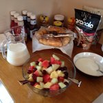 Fresh fruit salad, yogurt and granola!