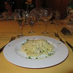 Amazing pairing of pasta with lemon and herb sauce and Lenz Gewurtraminer.