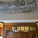 river themed lobby art above the front desk