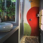 chich design of semi-outdoor bathroom