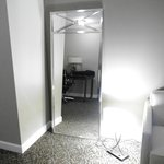 Lamp and mirror on floor