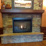 A warm fire on a cool morning at the Pinedale Hampton Inn.