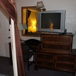The dresser and the tv