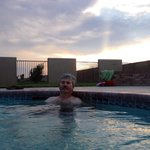 Relaxing in the adult age only hot tub. Amarillo's sunsets are awesome!