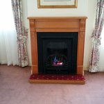 Gas coal fireplace in one of the guest rooms