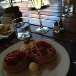Freshly prepared waffles at breakfast, sparkling included!