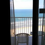 View of the beach from inside the room