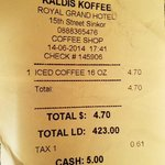receipt from Kaldi's Koffee, located in the hotel.