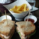 Enjoy the lunch at the restaurant..  tuna sandwish for me and tuna grilled salad for my friend.