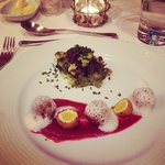 Amazing starter - kofta with quails egg and garlic foam