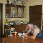 Grandpa and Grandson enjoying breakfast
