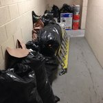 Trash piled up in stairway