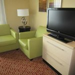 Comfy chairs, nice TV in the suite