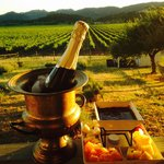 Champagne and chocolate fondue package on the Montrachet balcony