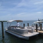 rental pontoon docked at cayo costa park