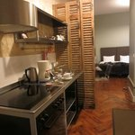 kitchen and room,