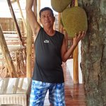 my father and the langka (jackfruit) on the hallway