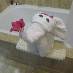 This little elephant was in our bathroom after maid service!
