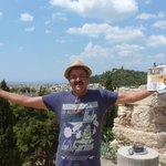 Your Author, enjoying the Athens sites!