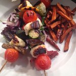 Halloumi and roast veg skewers with sweet potato fries! Off the new menu!