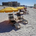 Chair and Umbrella set up on Beach for rent