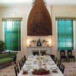Dining room with huge fan