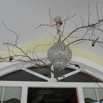 Cool chandelier above the front door
