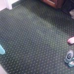 wet carpet in the bathroom bottom rooms will flood if it rains hard