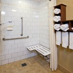 Accessible roll-in showers also available