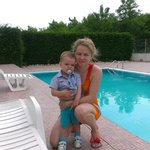 My wife and son at the pool