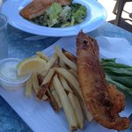 Fish & chips and Caesar salad with salmon