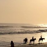 Horse riders sharing the sunset hours ...
