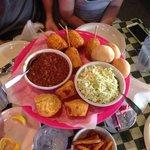 Fried corn on the cob, light coleslaw, beans, cornbread muffins, biscuits