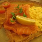 Smoked salmon and scrambled egg waffle