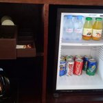 Mini fridge, tea, coffee