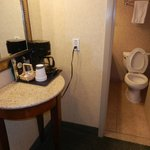 Coffee maker and bathroom door