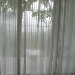 view from room with curtain