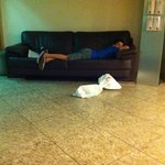Sleeping in Lobby