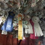 Dollar bills and ribbons.