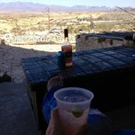 Enjoying a drink in the Perry Mansion outdoor living area.  Life is good in Terlingua!