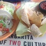 Fish Tacos & w/generous Complimentary portions of Fresh Chips & Salsa