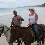 Riding on Rincon Beach, 1 of the top beaches in the world, my wife & the best cowboy around, Ame