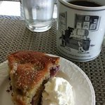 Breakfast on shaded courtyard porch...like Shannon's Mediterranean grape & olive oil cake