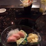 The scallop hand roll and yellow tail sashimi