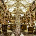A fisheye view of the amazing lobby at Xmas time