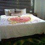 Bed Decorated with Floweres for the Couple