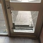Broken door shows general care put into hotel
