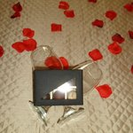 rose petals and chocs